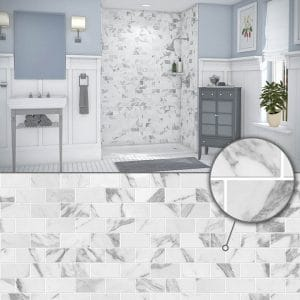 Austin Bathroom Remodel colors_simtile_t3_calacatta-white - 1 Day Bath of Texas